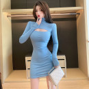 Dress Autumn 2020 blue Average size Short skirt singleton  Long sleeves commute High collar High waist Solid color Socket One pace skirt routine Others Type H Other / other Korean version Hollowing out 71% (inclusive) - 80% (inclusive) other other