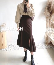 skirt Autumn 2020 S,M,L Dark grey, black, brown Short skirt sexy High waist Ruffle Skirt Solid color Type A 25-29 years old 71% (inclusive) - 80% (inclusive) brocade polyester fiber Lotus leaf edge