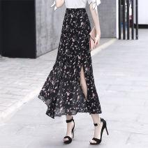 skirt Summer 2020 S,M,L,XL,2XL Decor longuette High waist skirt Broken flowers Type A 1058-3 Chiffon
