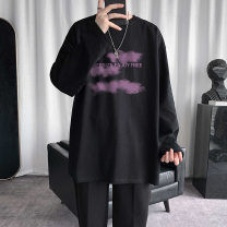 T-shirt Youth fashion White, black, pink, haze blue routine M,L,XL,2XL,3XL,4XL,5XL Others Long sleeves Crew neck easy Other leisure spring Cotton 100% teenagers routine Youthful vigor other 2021 other cotton other No iron treatment More than 95%