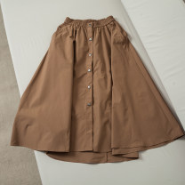 skirt Summer 2020 XS,S,M,L khaki Mid length dress Natural waist Solid color Type A 51% (inclusive) - 70% (inclusive) Other / other cotton