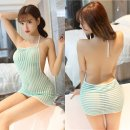 Dress Spring 2017 Green, black, white, gray, apricot, pink Average size Miniskirt Elastic waist Hanging neck style 25-29 years old Type H Other / other nylon