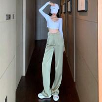 Casual pants Light green, apricot, light blue, black S,M,L Spring 2021 trousers Wide leg pants High waist commute routine 18-24 years old 91% (inclusive) - 95% (inclusive) et# polyester fiber Korean version Button polyester fiber