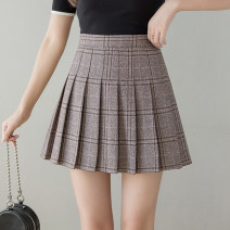 skirt Summer 2021 S,M,L,XL,2XL,3XL Khaki, grey Short skirt Versatile High waist Pleated skirt lattice Type A 18-24 years old cH More than 95%