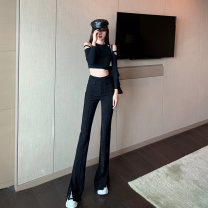 Casual pants Apricot, black S,M,L Spring 2021 trousers Wide leg pants High waist commute 18-24 years old 96% and above Ch other Korean version