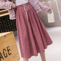 skirt Spring 2021 S,M,L,XL Black, green, khaki, pink longuette commute High waist Umbrella skirt Solid color Type A 18-24 years old cH More than 95% Frenulum