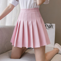 skirt Spring 2021 S,M,L,XL Black, gray, blue, white, pink Short skirt Versatile High waist Pleated skirt Solid color Type A 18-24 years old cH More than 95% other polyester fiber fold