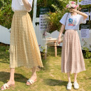 skirt Summer 2021 Average size Mid length dress commute High waist A-line skirt Decor Type A 18-24 years old Et 81% (inclusive) - 90% (inclusive) polyester fiber Korean version