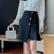 skirt Summer 2021 S,M,L,XL,2XL Apricot, black Middle-skirt commute High waist Ruffle Skirt Solid color Type A 18-24 years old Et 81% (inclusive) - 90% (inclusive) other polyester fiber zipper Korean version