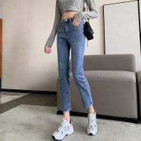Jeans Spring 2021 navy blue S,M,L,XL Ninth pants High waist Straight pants routine 18-24 years old Cotton elastic denim Dark color cH 96% and above