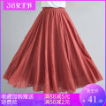 skirt Summer 2020 85CM [95-130kg], 95cm [120-160kg] Light green, white, violet, Navy, black, fruit green, light red, water blue, cowboy blue, rust red, coral, beige, sky blue, light gray, grass green, Matcha green, Niagara blue, light cowboy, lavender, cherry yellow longuette commute A-line skirt
