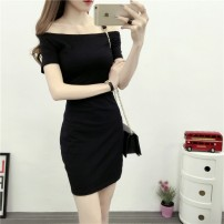 Dress Summer 2020 S,M,L,XL,2XL Middle-skirt singleton  Short sleeve commute One word collar middle-waisted Solid color Socket One pace skirt raglan sleeve Others 18-24 years old Type H Korean version 91% (inclusive) - 95% (inclusive) other cotton