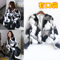 leather and fur Winter 2016 Other / other Picture color Average size routine Long sleeves Single row two buttons 91% (inclusive) - 95% (inclusive)