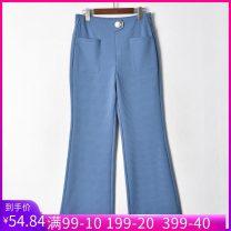 Casual pants Black, blue, beige 27,28,29,30,31 Spring 2021 trousers Wide leg pants Natural waist routine