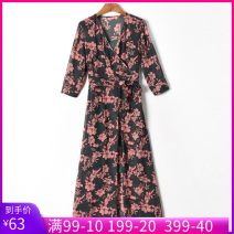 Dress Summer 2020 Decor, decor sling is different S,M,L,XL Two piece set elbow sleeve V-neck middle-waisted zipper