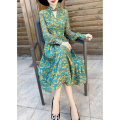 Dress Spring 2021 green S,M,L,XL Mid length dress singleton  Long sleeves commute V-neck middle-waisted Decor zipper Big swing shirt sleeve Hanging neck style 30-34 years old Type X MEXCOCO lady printing RLYQ0064 More than 95% silk