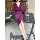 Dress Summer 2021 violet S,M,L,XL,2XL Middle-skirt singleton  three quarter sleeve commute V-neck middle-waisted Solid color zipper One pace skirt other Others 25-29 years old Type X MEXCOCO lady Pleating, stitching M9XL1360