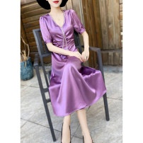 Dress Summer 2021 Purple, champagne, black M,L,XL,2XL Mid length dress singleton  Short sleeve commute V-neck middle-waisted Solid color zipper routine Others 30-34 years old Type X MEXCOCO lady Nail bead M0XL2898 81% (inclusive) - 90% (inclusive) Silk and satin Cellulose acetate