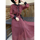 Dress Spring 2021 Red, blue S,M,L,XL,2XL longuette singleton  Long sleeves commute Doll Collar middle-waisted Decor zipper Big swing shirt sleeve Others 30-34 years old Type X MEXCOCO lady Ruffles, lace up, print More than 95% Chiffon