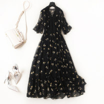Women's large Spring 2021, summer 2021 black Large L, large XL, s, m, 2XL, 3XL, 4XL, 5XL Dress singleton  commute Self cultivation thin Socket elbow sleeve Flower color Crew neck Polyester, polyester Three dimensional cutting 25-29 years old belt longuette Princess Dress Lotus leaf edge