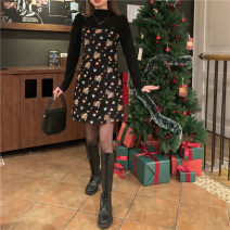 Fashion suit Winter 2020 Average size Black base, floral sling m, floral sling s 18-25 years old 61071# 51% (inclusive) - 70% (inclusive)