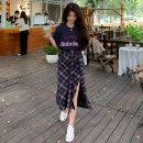 Fashion suit Spring 2021 Average size Navy Plaid Skirt, Navy T-shirt, black and white plaid skirt, pink T-shirt
