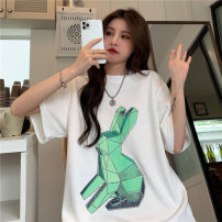 T-shirt White, black Average size Spring 2021 Long sleeves Crew neck easy Medium length routine Sweet cotton 71% (inclusive) - 85% (inclusive) 18-24 years old originality Cartoon animation printing