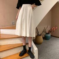 skirt Spring 2021 Average size White, black Mid length dress Versatile Natural waist Umbrella skirt Solid color 18-24 years old