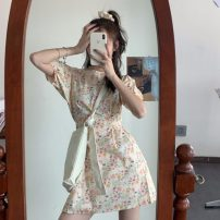 Dress Summer 2021 Dark blue, yellow Average size Short skirt singleton  Short sleeve commute Crew neck High waist Broken flowers Socket A-line skirt puff sleeve 18-24 years old Type A Bandage 31% (inclusive) - 50% (inclusive) other other