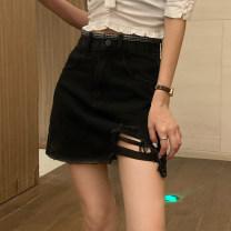 skirt Summer 2021 S,M,L black Short skirt High waist Denim skirt Type A Hand abrasion