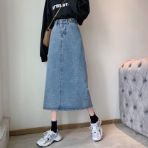 skirt Spring 2021 S,M,L,XL blue longuette commute High waist Denim skirt Solid color Type A 18-24 years old 30% and below Denim cotton pocket Korean version