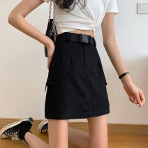 skirt Summer 2020 S,M,L Black (belt) Short skirt Versatile High waist A-line skirt Solid color Type A