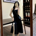 Dress Summer 2021 Black skirt, Black Medium skirt Average size Miniskirt singleton  commute V-neck High waist Solid color zipper A-line skirt camisole 18-24 years old Type X Korean version Gauze 31% (inclusive) - 50% (inclusive) other polyester fiber