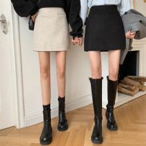 skirt Winter 2020 S,M,L Apricot, black Short skirt commute High waist A-line skirt Solid color Type A 18-24 years old 30% and below other other Splicing Korean version