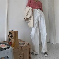 Jeans Autumn 2020 White, black S,M,L,XL trousers High waist Straight pants routine washing Cotton denim 100f1 / one percent 71% (inclusive) - 80% (inclusive)