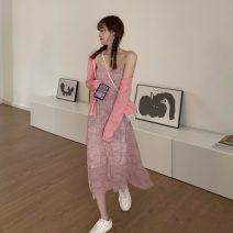 Fashion suit Summer 2021 Average size Pink cardigan, gray cardigan, green cardigan, pink floral skirt, green floral skirt, black and gray floral skirt