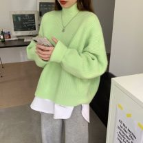 Wool knitwear Winter 2020 Average size Long sleeves singleton  Socket other 31% (inclusive) - 50% (inclusive) Super short thickening commute easy Half height crew neck routine Solid color Socket Korean version 18-24 years old