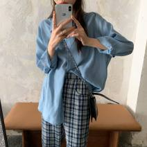 shirt White, green, blue, pink Average size Autumn 2020 other 96% and above Long sleeves Versatile Regular Single row multi button Solid color