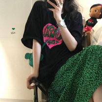 T-shirt White T-shirt, black T-shirt, green leopard skirt s, green leopard Skirt M Average size Summer 2021 Short sleeve Crew neck easy Medium length cotton 96% and above