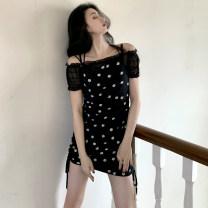 Dress Summer 2021 Apricot, black Average size Middle-skirt singleton  Sleeveless commute One word collar Decor Socket Korean version 31% (inclusive) - 50% (inclusive) polyester fiber