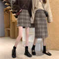 skirt Winter 2020 S,M,L Grey short , Coffee short , Grey long , Coffee color long style High waist A-line skirt lattice 18-24 years old 31% (inclusive) - 50% (inclusive) other