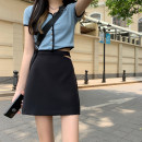 skirt Summer 2021 S,M,L black Short skirt commute Natural waist Irregular Solid color Type A 18-24 years old other polyester fiber Gouhua hollow