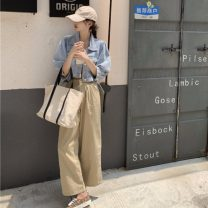 Casual pants Khaki, white S, M Summer 2020 trousers routine 18-24 years old 96% and above cotton cotton