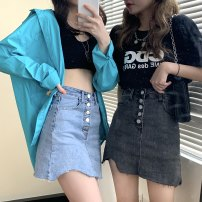 skirt Summer 2021 S,M,L Blue, black and gray Short skirt High waist Solid color Type A Button