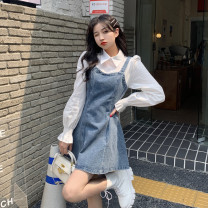 Dress Spring 2021 wathet S,M,L Short skirt Fake two pieces Long sleeves Polo collar High waist puff sleeve Others 18-24 years old Other / other cotton