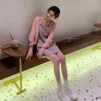 Fashion suit Summer 2021 Average size Yellow T-shirt, pink T-shirt, Navy T-shirt, yellow Plaid suspender skirt, Pink Plaid suspender skirt, black and white plaid suspender skirt