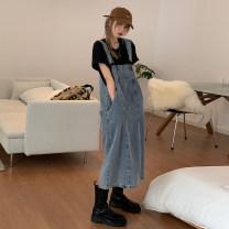 Dress Summer 2021 Black, denim S,M,L Mid length dress singleton  Solid color Socket straps Type A pocket