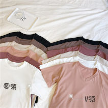 T-shirt Deep coffee, orange powder, milk apricot, brick red, white, black Crew neck, V-neck Summer of 2018 Short sleeve Crew neck easy Regular routine commute cotton 51% (inclusive) - 70% (inclusive) 18-24 years old Korean version Other / other
