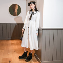 Dress Autumn 2020 white M, L Mid length dress singleton  Long sleeves commute Polo collar High waist Solid color Socket A-line skirt routine Others 18-24 years old Type A Other / other Korean version Button 81% (inclusive) - 90% (inclusive) other cotton
