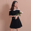 Dress Summer 2020 black S,M,L Mid length dress singleton  Short sleeve commute One word collar High waist Solid color Single breasted A-line skirt routine camisole 18-24 years old Type A Other / other Korean version Button, button 51% (inclusive) - 70% (inclusive) other cotton
